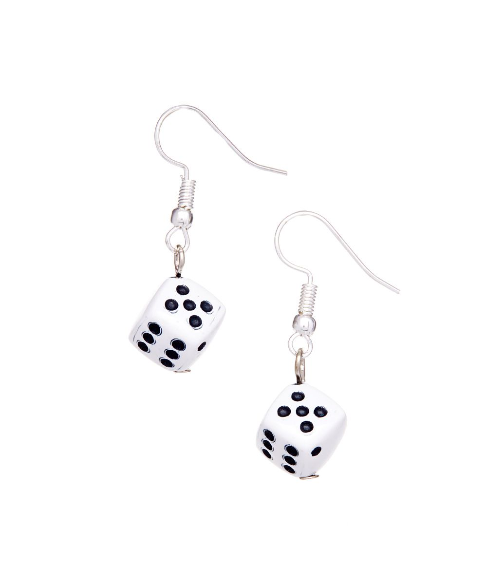 Dollhouse Miniatures In Las Vegas: Black & White Dice Earrings