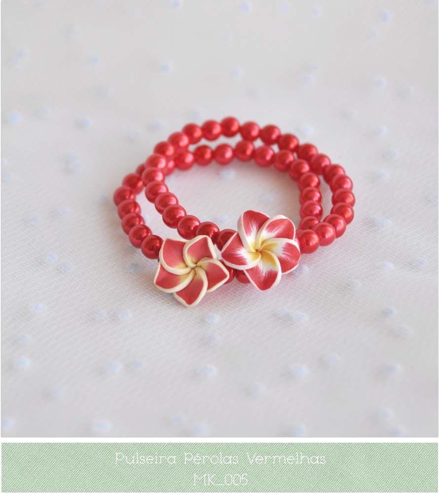 Bijuteria e Artesanato Urbano: Pulseiras de Pérolas com Flores    :: pearl bracelet for girls ::