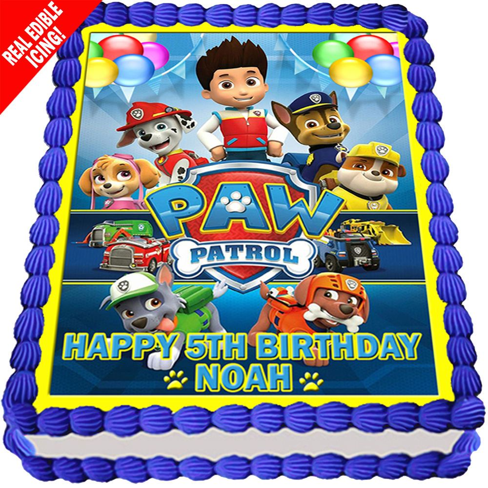 Paw Patrol Cake Topper Image Edible Icing Personalised Birthday