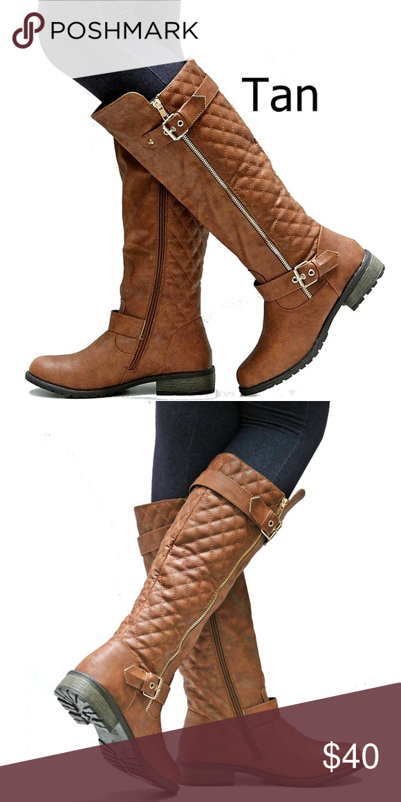New Tan Quilted Knee High Riding Boots 8 5 To 10 Boots Riding Boots Stacked Heel Boots
