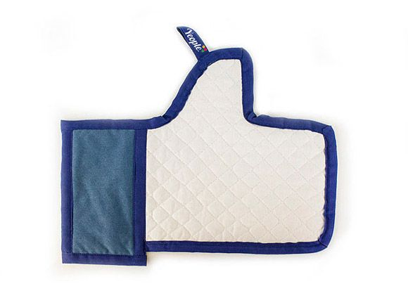 An oven mitt that looks like Facebook Like
