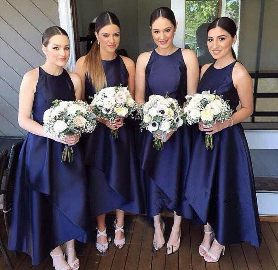 Gorgeous aline crew navy blue long long bridesmaid dresses