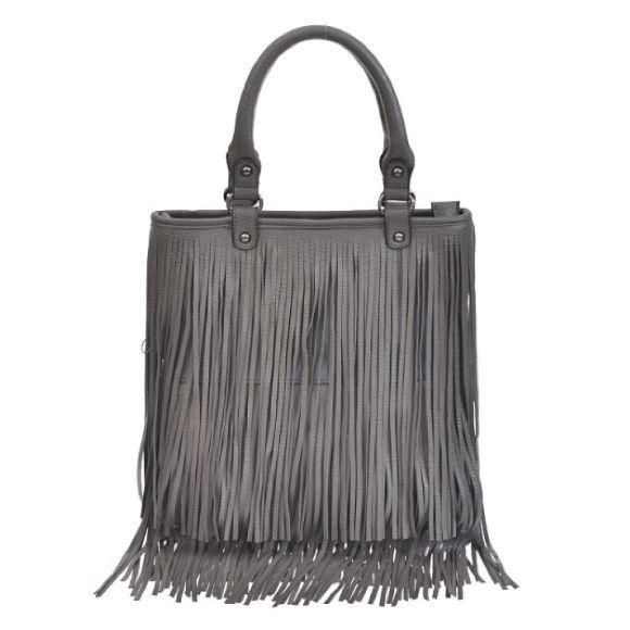 Grey Fringe Handbag Grey Fringe Handbag, handled & detachable adjustable shoulder strap. 13Wx13.25Hx.5D Bags