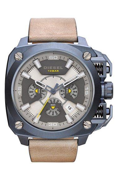Men s DIESEL  BAMF  Chronograph Leather Strap Watch  b7afd8b9ac