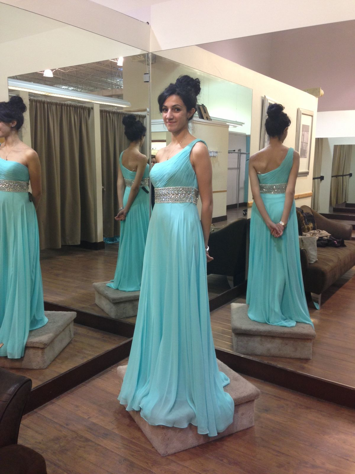 A-Line One-Shoulder Sweep Train Sleeveless Blue Chiffon Prom Dress ...