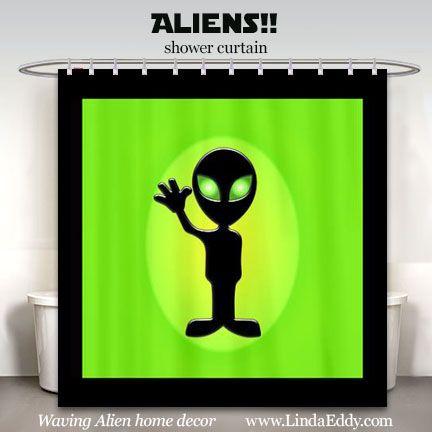 Aliens Funny Waving Alien Shower Curtain Design On Www