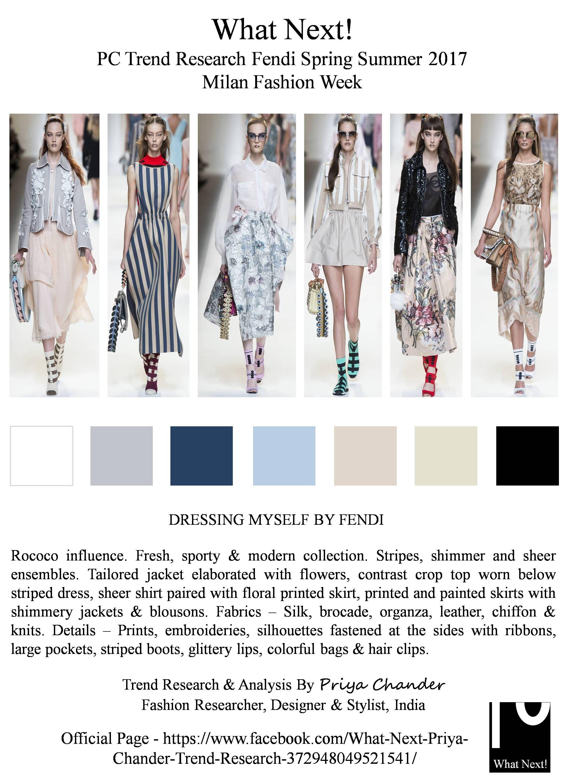 #Fendi #KarlLagerfeld #SS17 #SilviaVenturiniFendi #MilanFashionWeek #MFW #FendiSS17 #fashionindustry #Rococo #Frenchart #stripes #printedskirts #croptops #readytowear #RTW #fashionista #Milan #runway #MarieAntoinette #jackets #ribbons #priyachander #whatnextpctrendresearch #shirtdress #fashionweek #fashionblogger #fashionresearch #fashionblog #fashionforward #springsummer2017 #fashion
