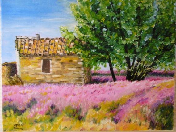 Tableau Peinture Cabanon Provence Lavande Paysages Peinture A L