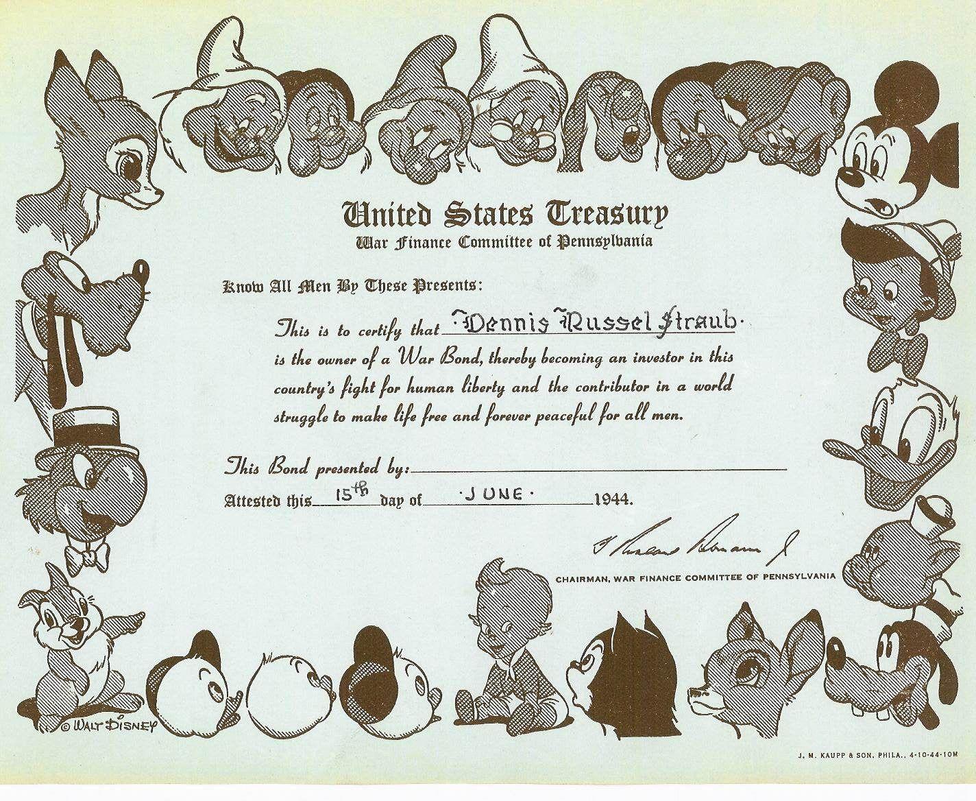 Wwii war bonds disney war bonds certificate for world war ii wwii war bonds disney war bonds certificate for world war ii similar to the left 1betcityfo Choice Image