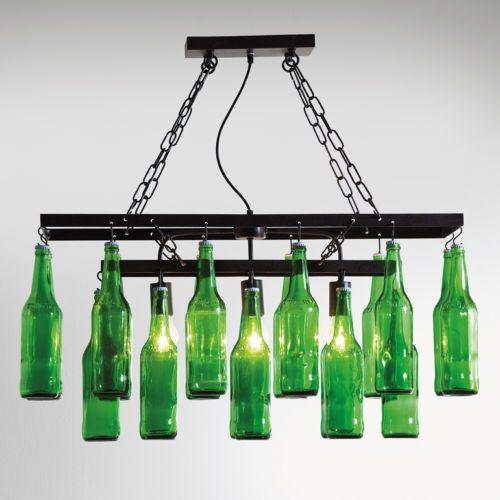 haengelampe lampe haengeleuchte beleuchtung beer bottles flaschen gruen modern neu lampen. Black Bedroom Furniture Sets. Home Design Ideas