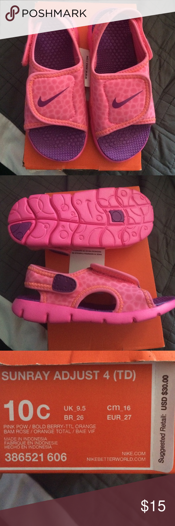 Nike sandals for toddler girls size 10C
