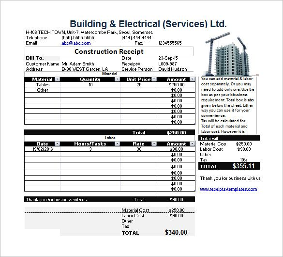 Constructor Receipt  Receipt Template Doc For Word Documents In