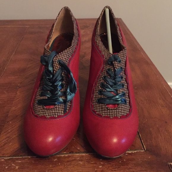 Anthropologie plaid heels Red leather with teal lace up, never been worn, comes in box. No trades Anthropologie Shoes Ankle Boots & Booties