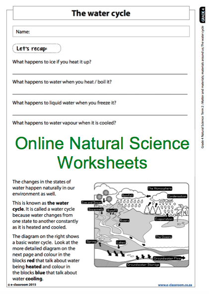 Grade 4 Online Natural Science Worksheet, the water cycle