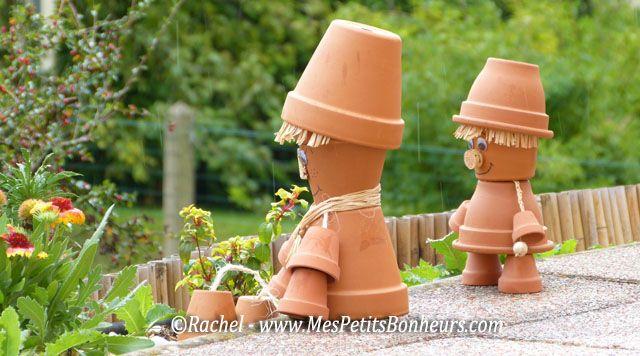 bonhommes en pots sous la pluie bricolage pinterest d co pots et bricolage. Black Bedroom Furniture Sets. Home Design Ideas