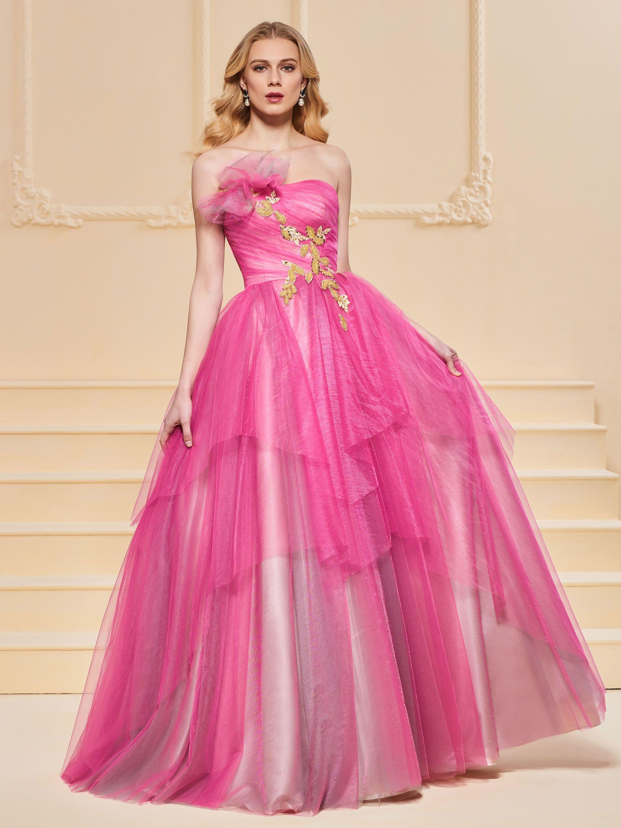 A-Line Appliques Strapless Evening Dress   Pinterest
