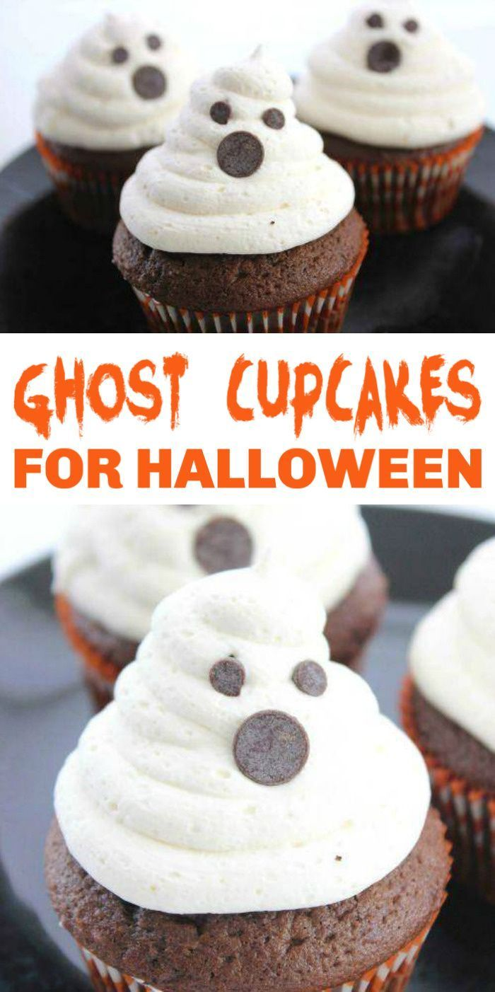Cupcakes for Halloween! These Ghost Cupcakes are so easy to make and the perfect party recipe for Halloween Parties! Kid-friendly and fun to make. All you need is a few simple ingredients!