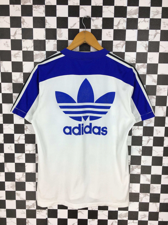 Vintage 90 S Adidas Sports Jersey Medium Adidas Trefoil Big Logo Sportswear Adidas White Blue V Neck Jersey Trik White Adidas Adidas Sport Adidas Three Stripes