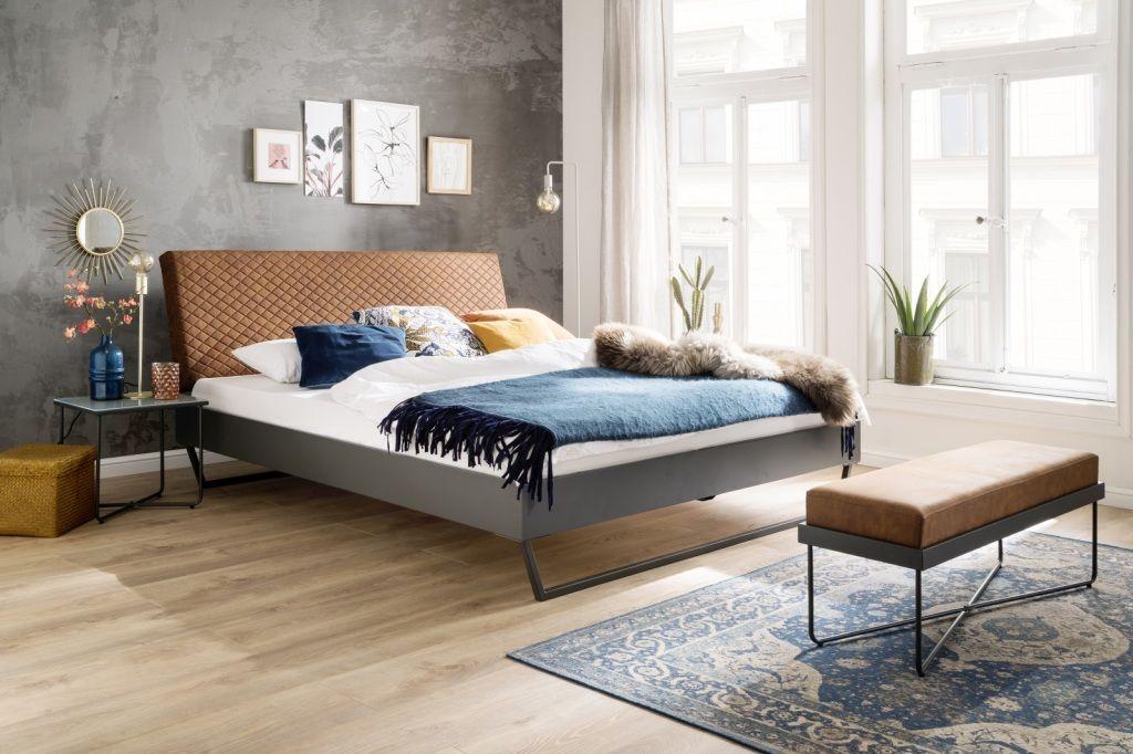 Bett 160 X 200 Cm Boston 1 Cognac Graphit Mega Mobel In 2020 Bett Zuhause Einzelbett