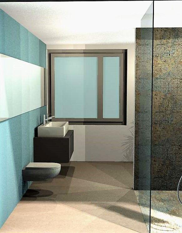 Vorschlag Farbkonzept Badezimmer in Hellblau und Fliessen in Antik