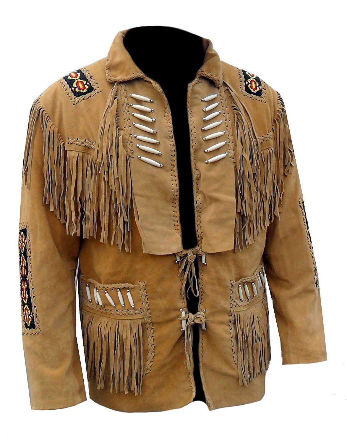 Mens Native American Cowboy Suede Leather Jacket With