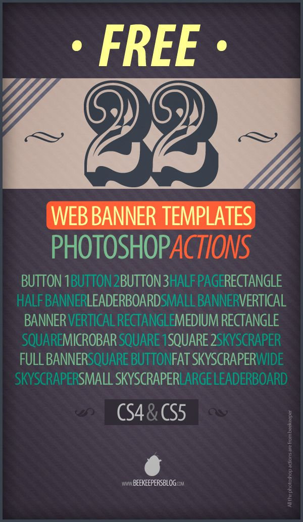 Free Web Banner Photoshop Action Templates By Beekeeper Via - Photoshop ad templates