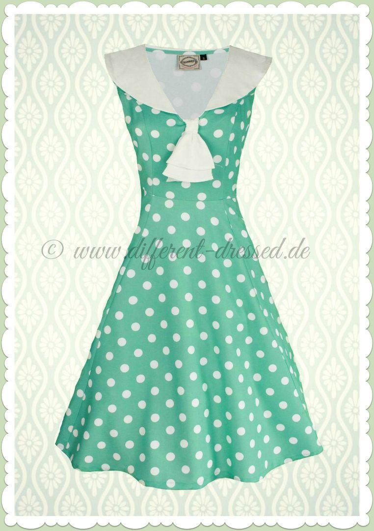 Banned 18er Jahre Rockabilly Petticoat Punkte Kleid - Rival - Mint
