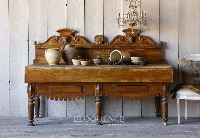 This is so great--French butcher block table.