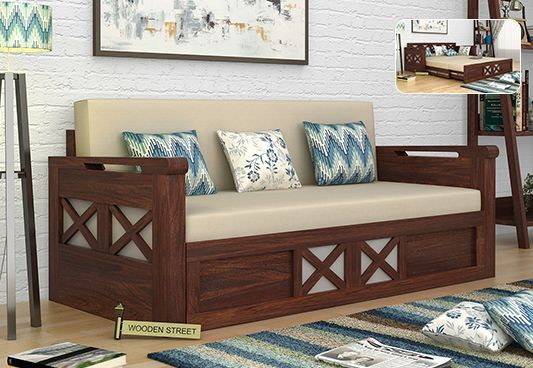 Best Medway Convertible Couch King Size Walnut Finish Sofa 400 x 300