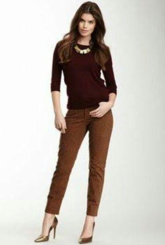 Combinar Tipo De Tonos De Cafe Pantalon Cafe Mujer Ropa Moda De Ropa
