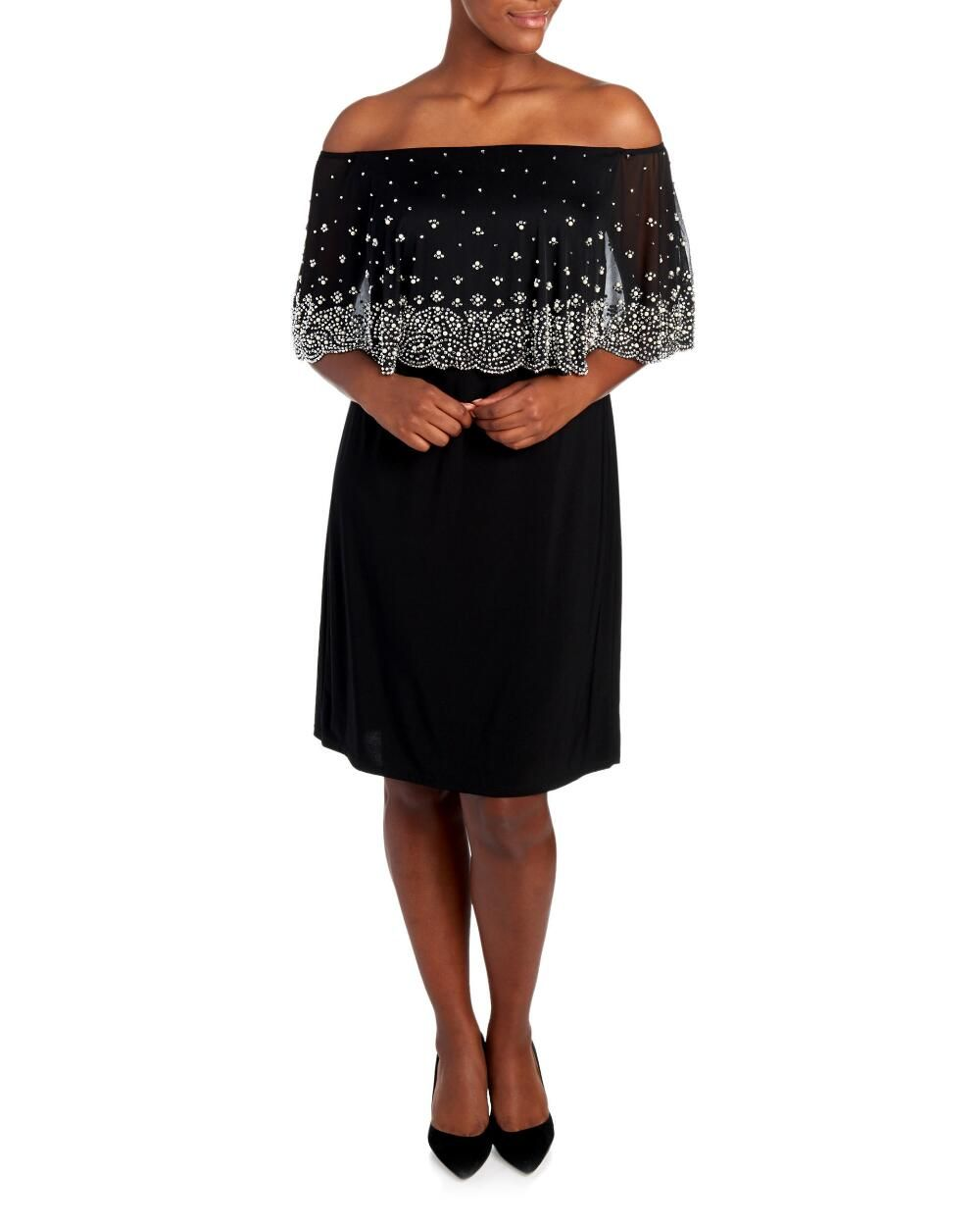 Women\'s Plus Size Beaded Off The Shoulder Dress-Dresses-Plus Size ...