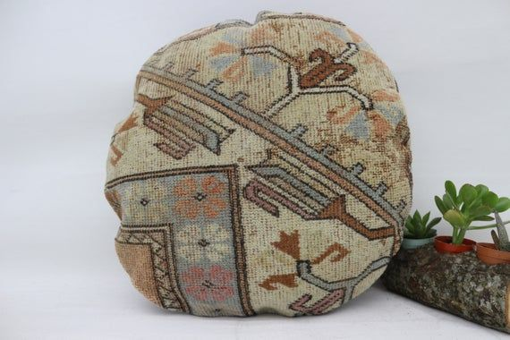 Pillow Rug, 18x18, Turkish Rug Pillow, Round Pillow, Cushion Cover, Throw Pillow, Home Decor, Art De