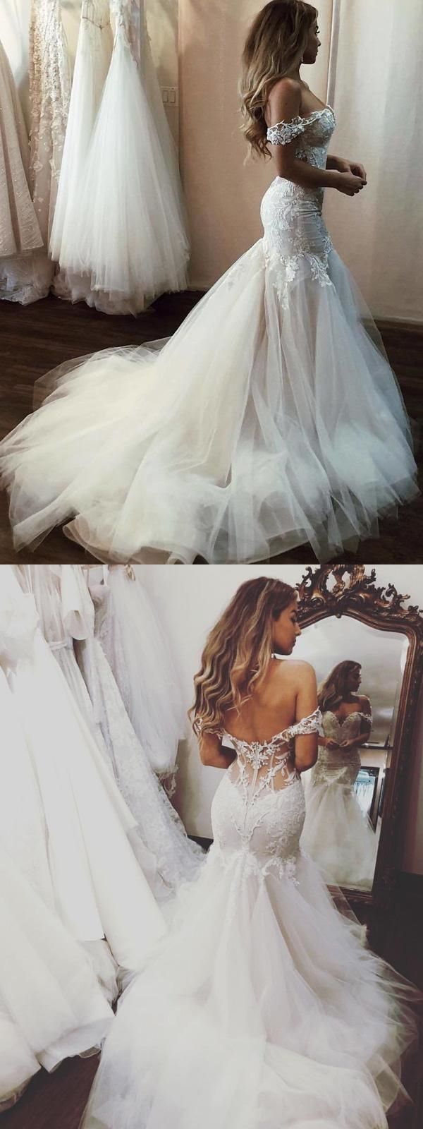 Sexy Mermaid Wedding Dress Off-the-Shoulder… #romanceornot?