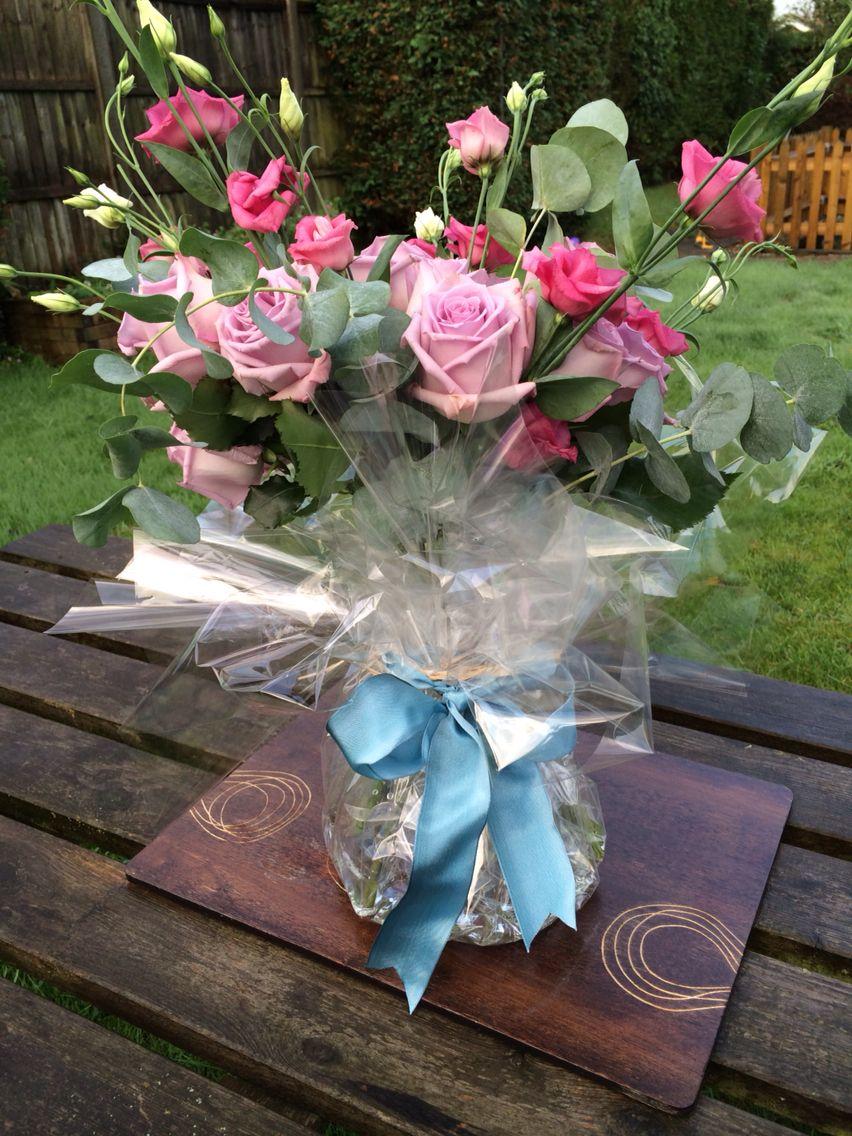 Sage colour bouquet, ocean song roses, eucalyptus, dusky ...