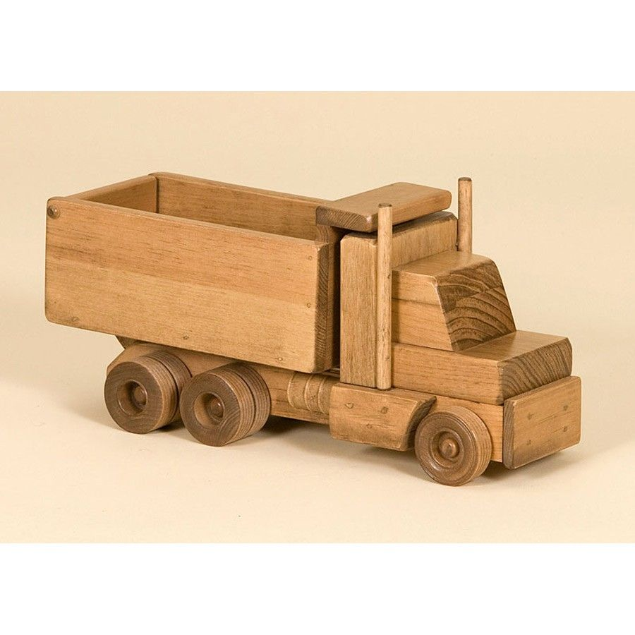 Amish made wooden toy dump truck gifts for kids