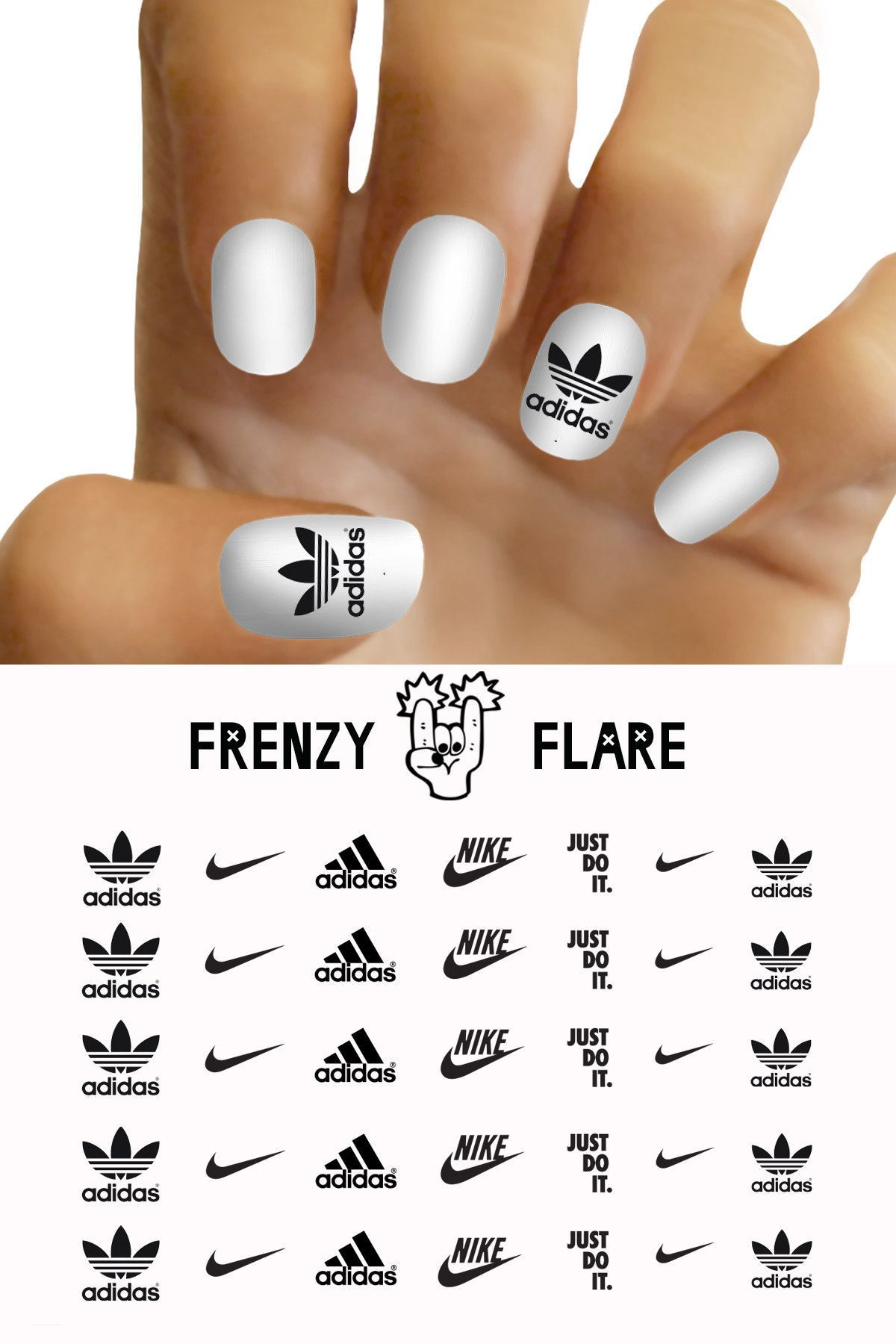 Adidas Nike Nail Decals For Diy Nail Art Custom Nail Decals Of Your