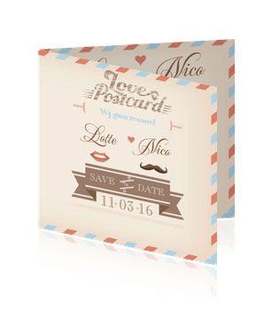 Photo of Machen oder bestellen Sie eine Hochzeitskarte auf Pinterest als alte Postkarte.