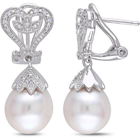 Miabella 10-10.5mm White Rice Freshwater Cultured Pearl and Diamond-Accent Sterling Silver Clip-Back Dangle Earrings