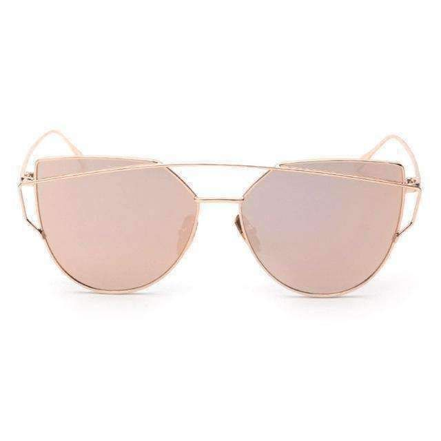 6b56a97903 Fashion Twin-Beams Classic Women Metal Frame Mirror Sunglasses Cat Eye  Glasses