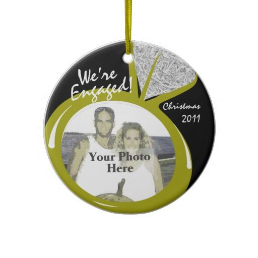 Engagement Ring Photo Christmas Ornaments