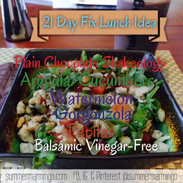 21 Day Fix lunch.  The container used is indicated in the pic via font color. www.facebook.com/summermarmingo