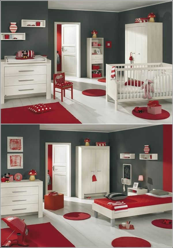 inspiration de d cor en rouge vif gris et le blanc. Black Bedroom Furniture Sets. Home Design Ideas
