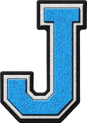 Presentation Alphabets Light Blue Varsity Letter J Letter J Lettering Alphabet Fonts Cool Alphabet Letters
