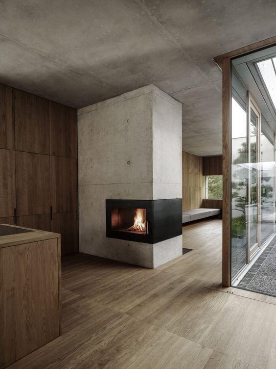concrete chimney bauernhaus wohn design haus design kachelofen modern reihenhaus kaminofen