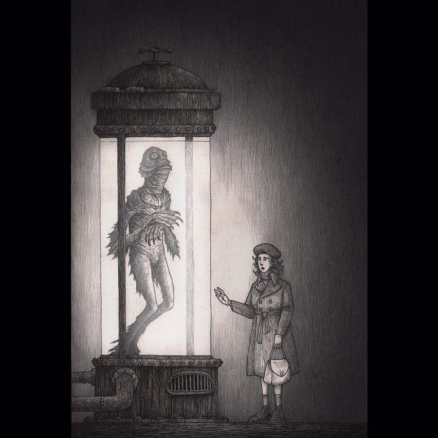 regram @johnkennmortensen Dagon #hplovecraft #dagon #innsmouth #johnkennmortensen #donkenn #illustration #drawing #creepy