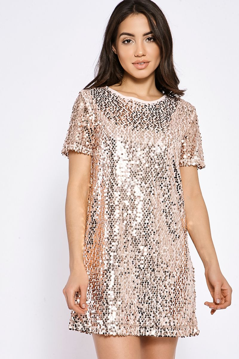 470e8653364 Madeline rose gold sequin t shirt dress in 2019