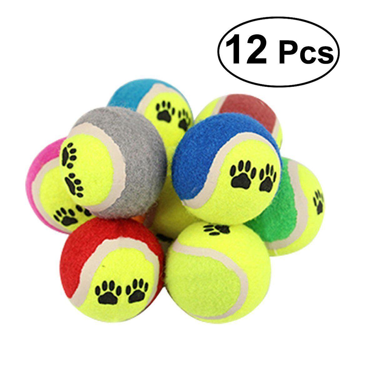 Ueetek 12pcs Pet Dog Tennis Balls Dog Chew Toys Funny Pet Cat