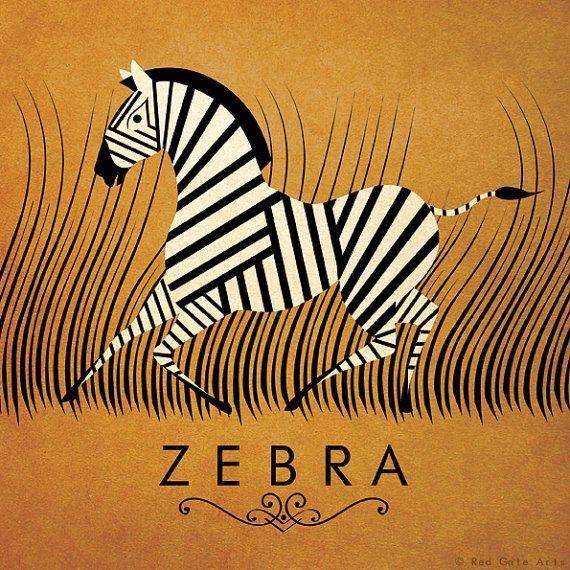 Zebra Print Original Design Affiche Alphabet des A