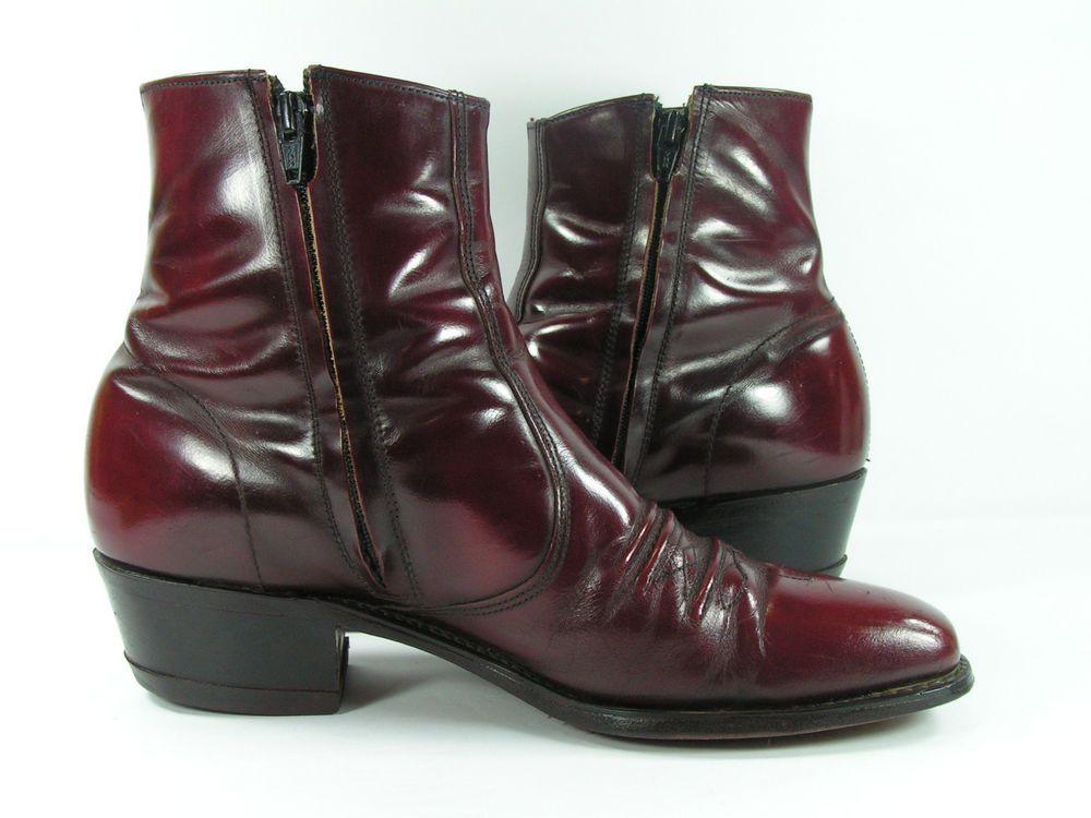 8af190731d5 vintage ankle cowboy boots mens 10.5 D burgundy cordovan zipper ...