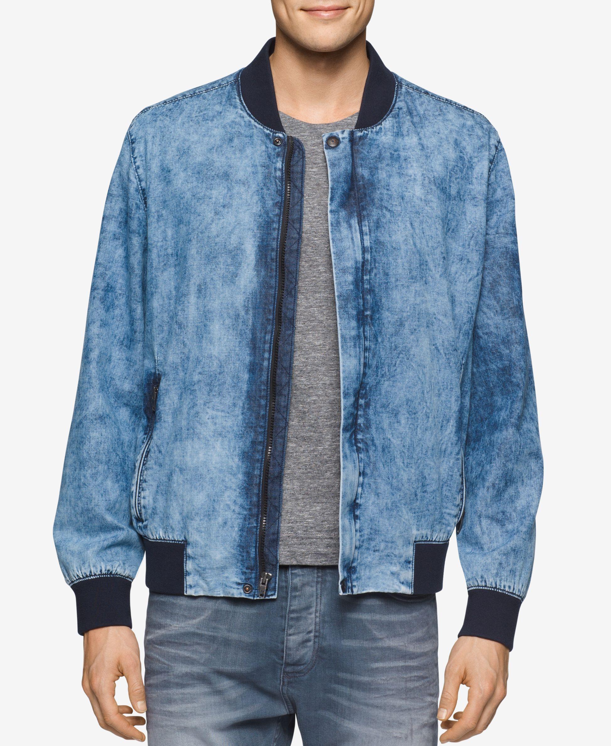 2c5d159a1b69 Calvin Klein Jeans Men s Wave-Wash Denim Bomber Jacket